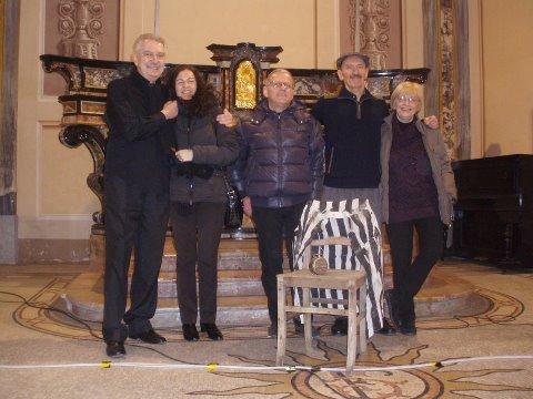 da sx Renzo Bellardone, Licia Di Pillo (consulente artistica),Gianni Giacosa, Umberto Bolzon, Maria Lacchio(consulenza e collaborazione)