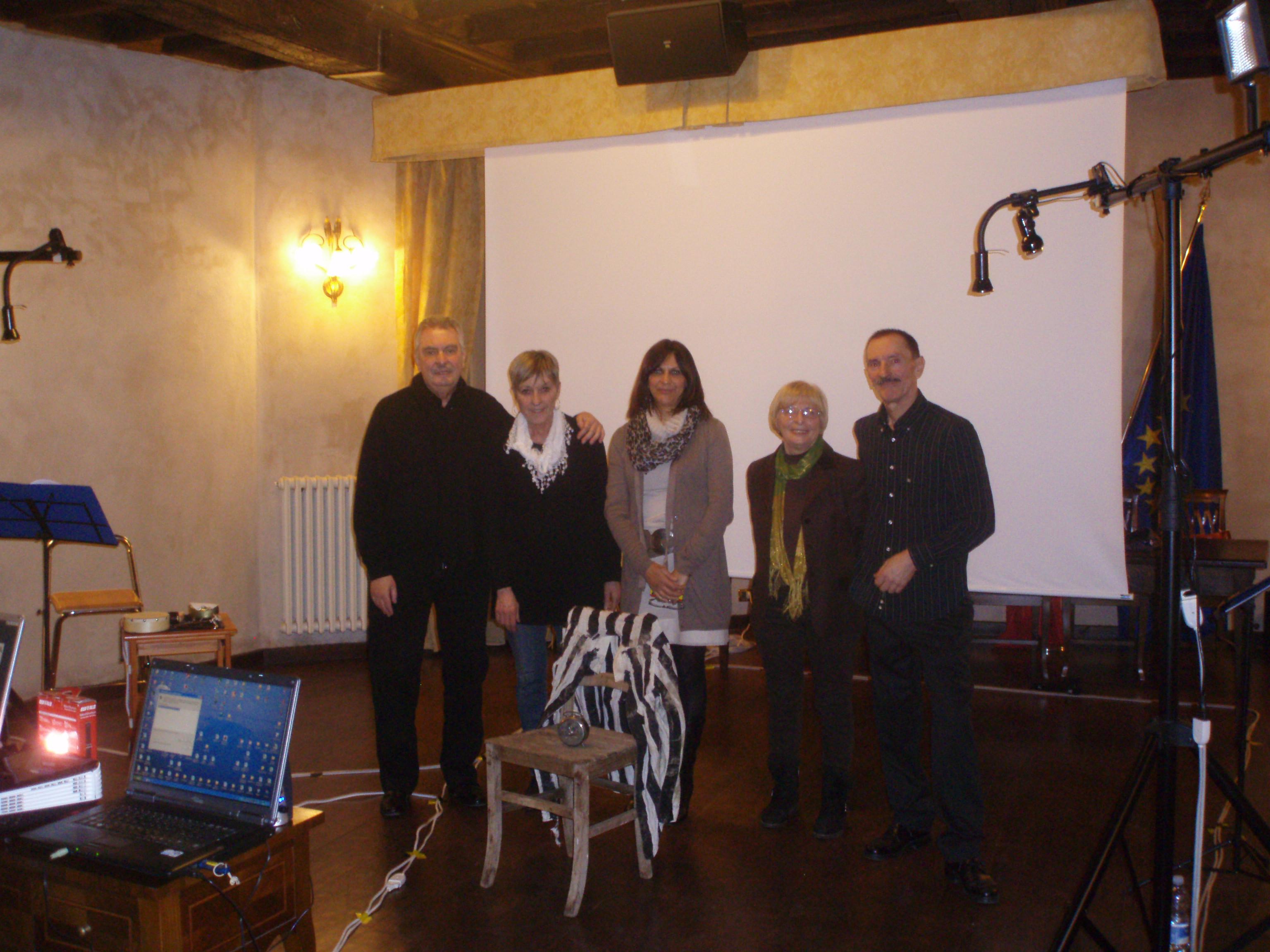 da sx Renzo Bellardone, Yvette Geissbhuler, Aste Stolfa, Maria Lacchio e Umberto Bolzon