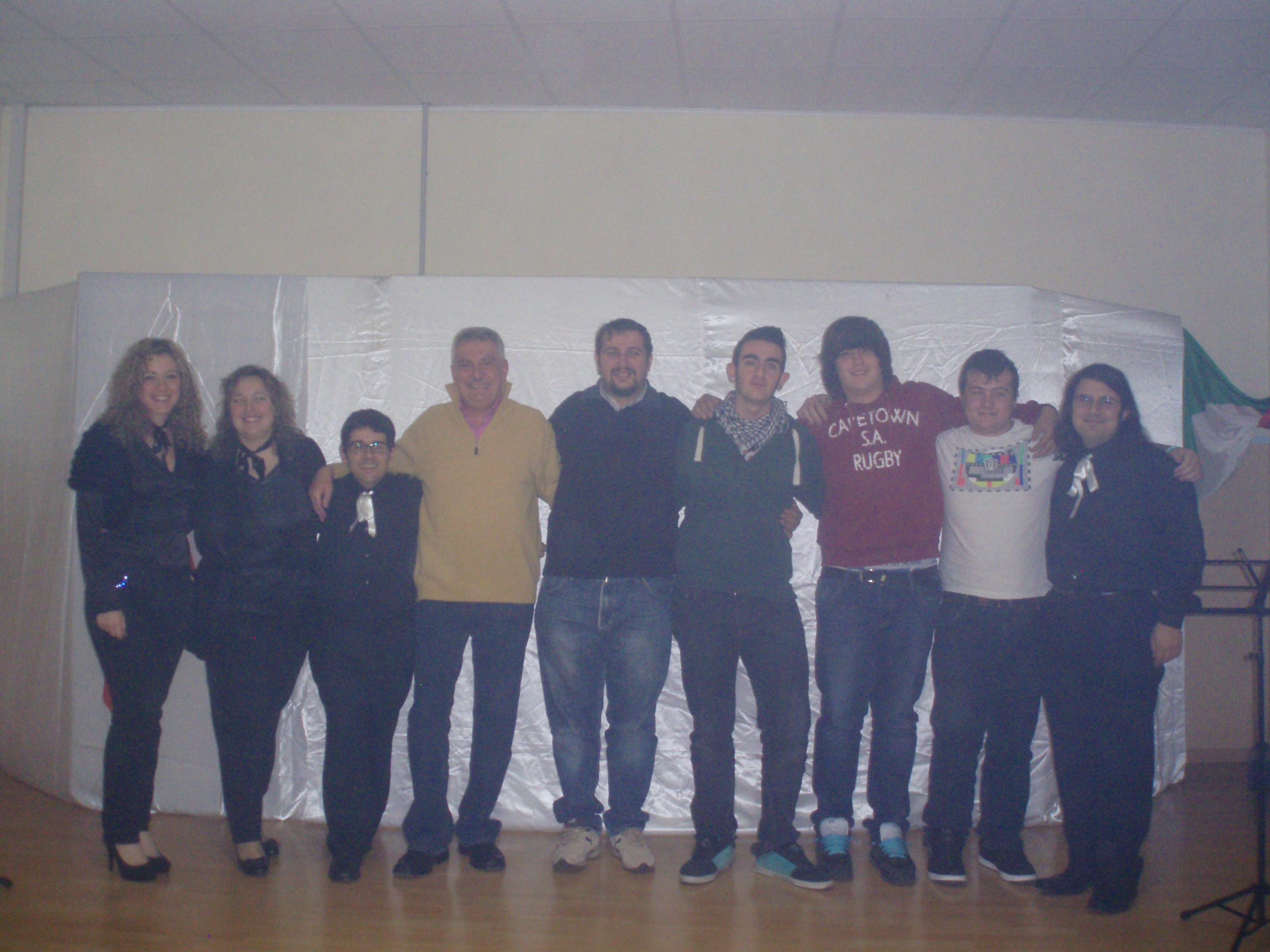 Foto di gruppo al finale di 'Poetar sentenziando...Jacopo Durandi'