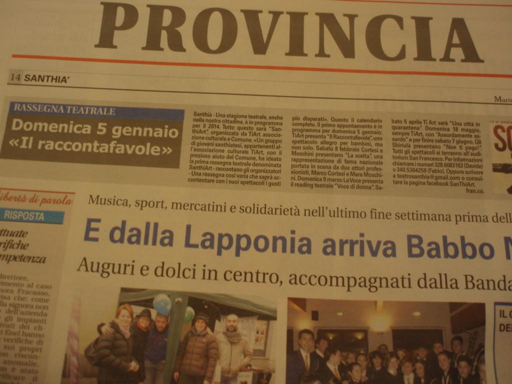 La Sesia 24.12.2013; la prossima stagione teatrale a Santhià -SanThIART; La Voce presente al 9.3.2014